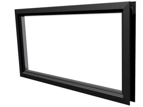 Rechteckiges Fenster Polystyren, schwarz , Snap-lock