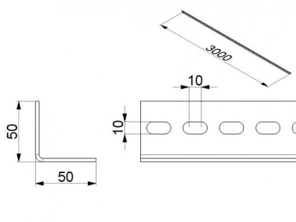 Gelochtes Winkelprofil 50x50x3mm, verzinkter Stahl