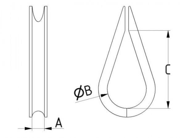 Öse Edelstahl für 4 mm Edelstahl-Stahlseil