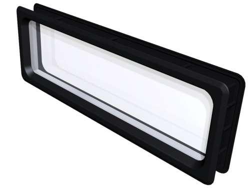 Rechteckiges Acrylfenster, Rahmens: Polystyren, schwarz