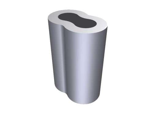 Aluminium Presshülse, oval, für 6 mm Stahlseil