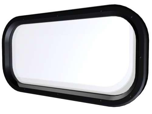 Ovales Acrylfenster, Rahmen Polystyren, schwarz