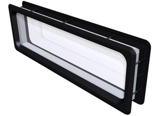 Rechteckiges Acrylfenster, Rahmen Polystyren, schwarz