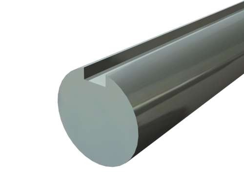 """Massivwelle 1"""" mit durchlaufender Nut, verzinkt. Stahl"""